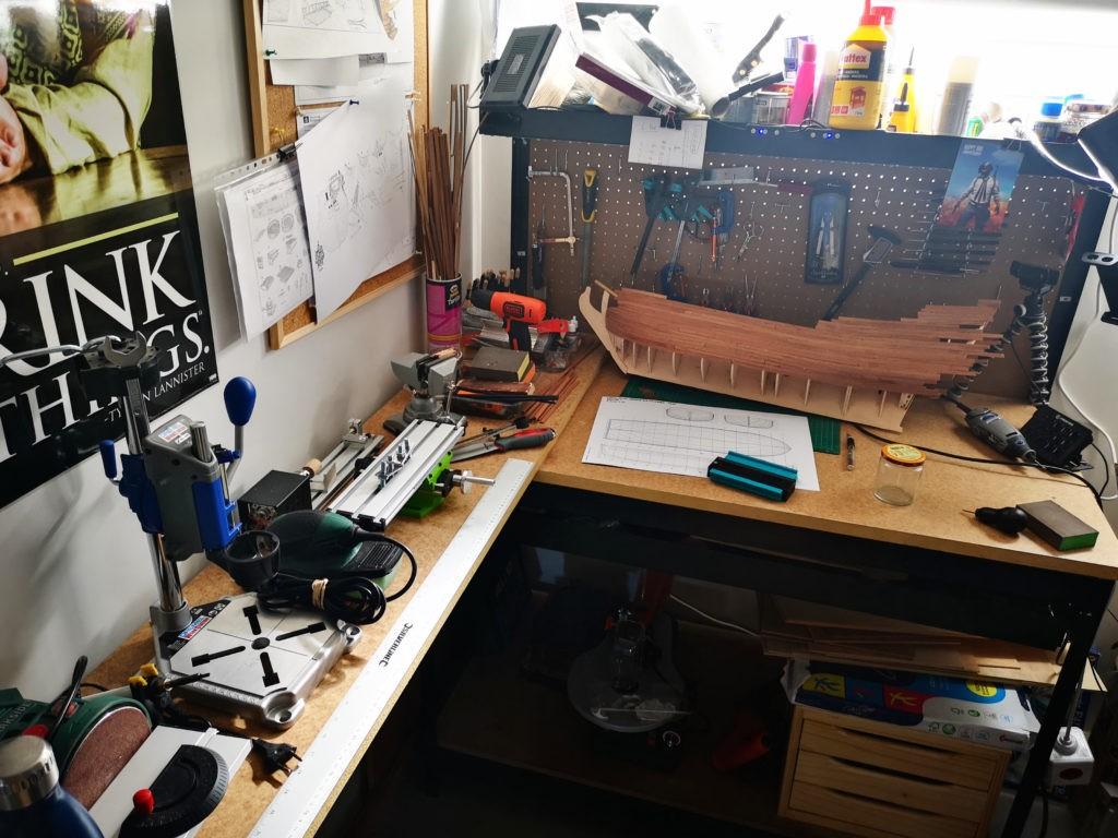 Mesa de trabajo para modelismo naval