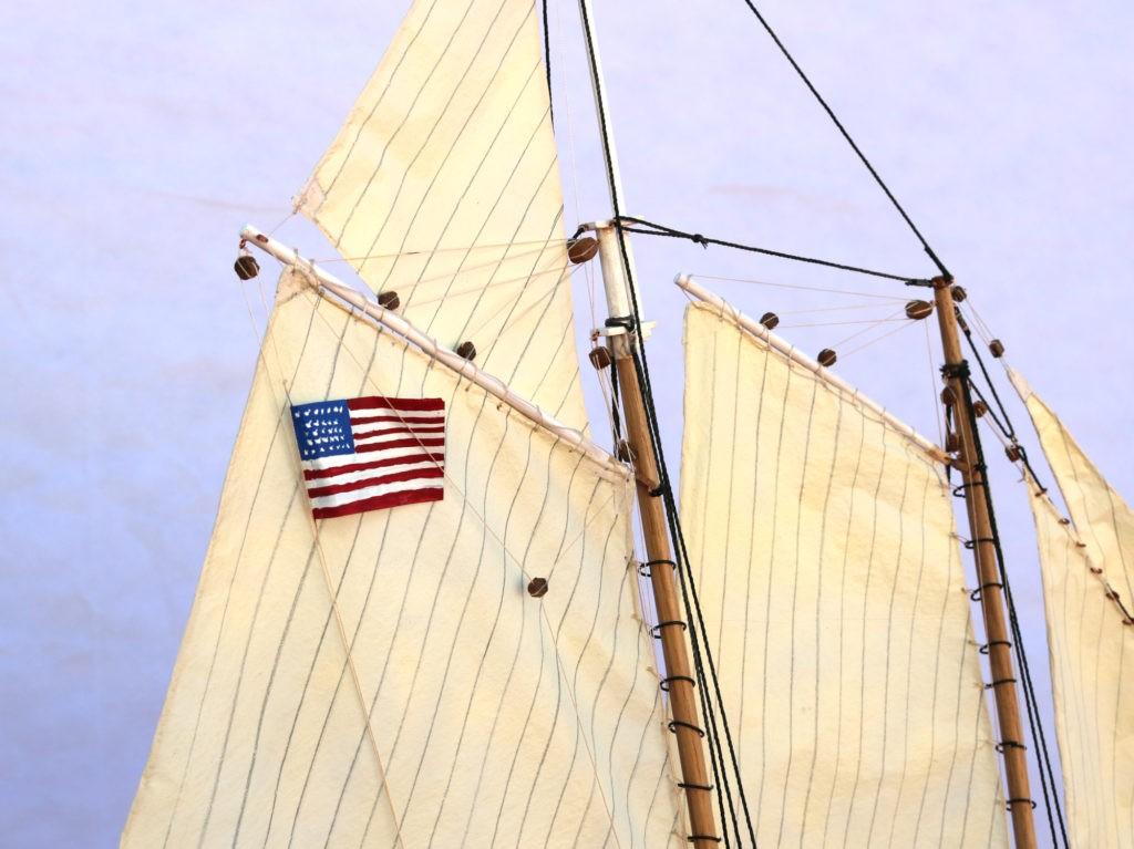 Velas y bandera de EEUU de 1851 del America Yacht 1:66